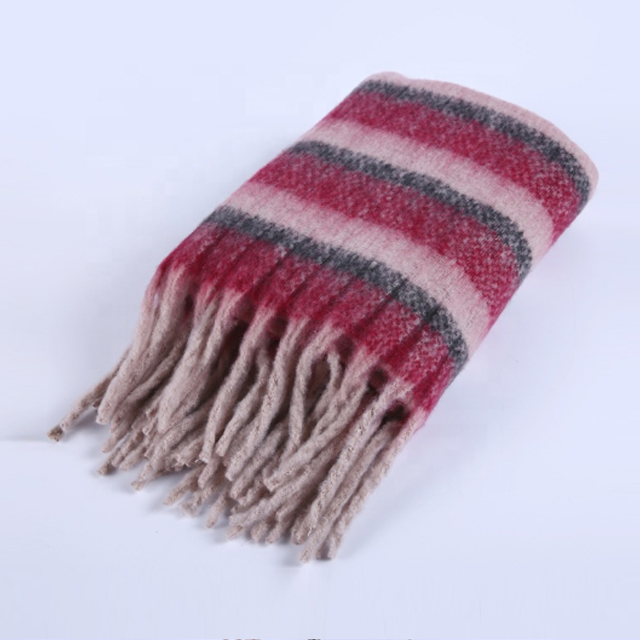 Popular Stripe Tassel Turkish Winter Warm Stripe Scarves Ladies Shawl Scarf for Sofa