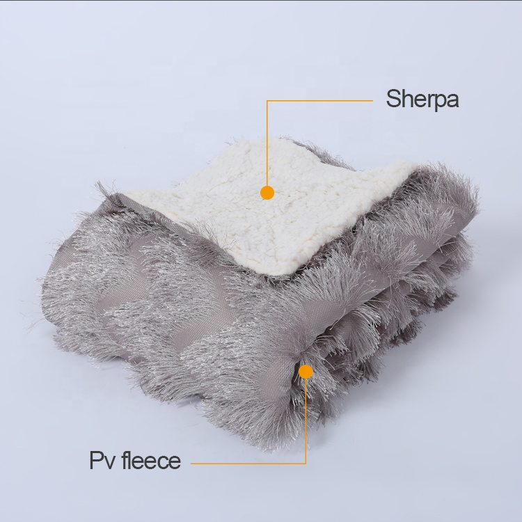 Sherpa Blanket Double Layer Sherpa PV Fleece Winter Thick Throw Blanket in China Factory